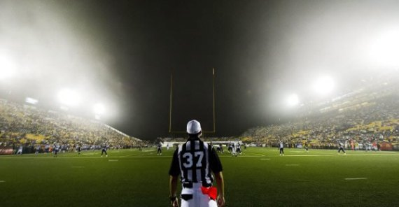 On field with the Hamilton Tiger-Cats