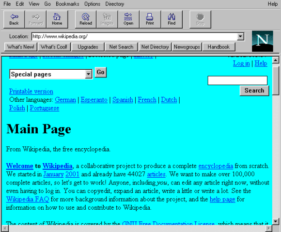Wikipedia in Netscape 1.22