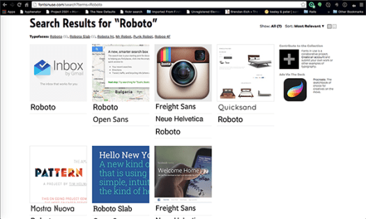 example screenshot from fontsinuse.com with samples of sites/apps using Roboto as their font