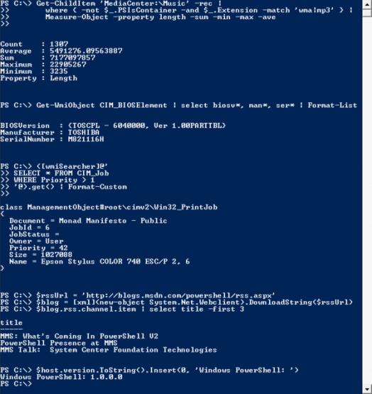 screenshot of Windows Powershell as it works in Windows Vista