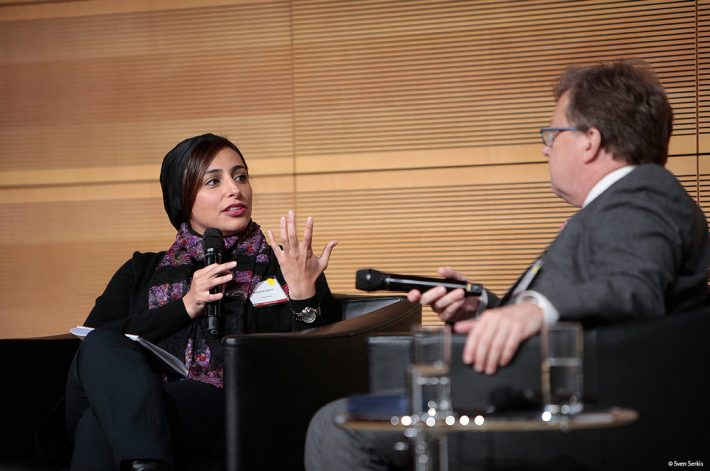 Bodour Al Quasimi and Rüdiger Wischenbart speak in an onstage 'fireside chat' during Berlin's Publishers' Forum. Image: Sven Serkis