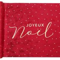 Chemin de table Noël velours rouge