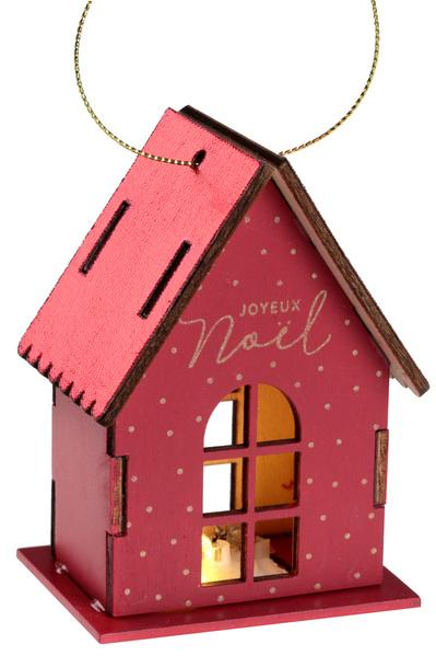 Maison en bois lumineuse rouge