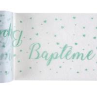 Chemin de table Baptême menthe