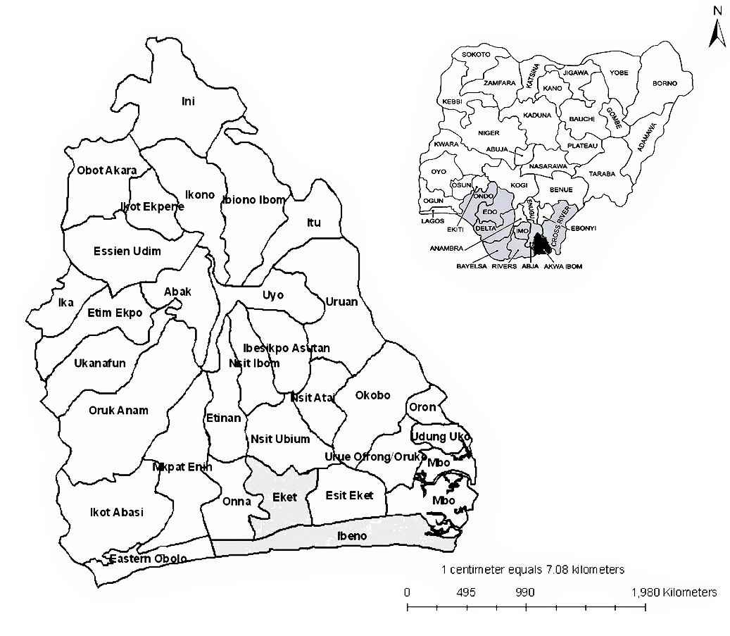 Figure 1 Map Of Akwa Ibom State Showing The Location Of