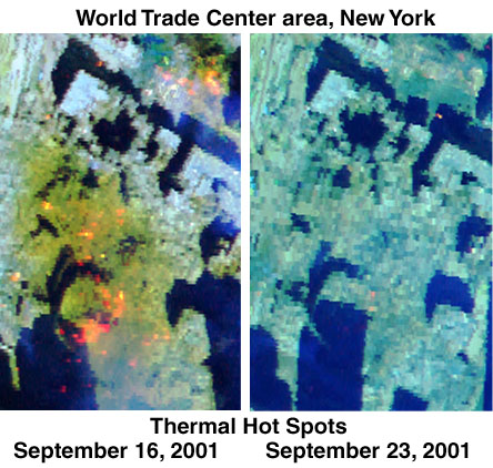 AVIRIS thermal hot spot images of the World Trade Center Site on Sept. 16 and 23, 2001