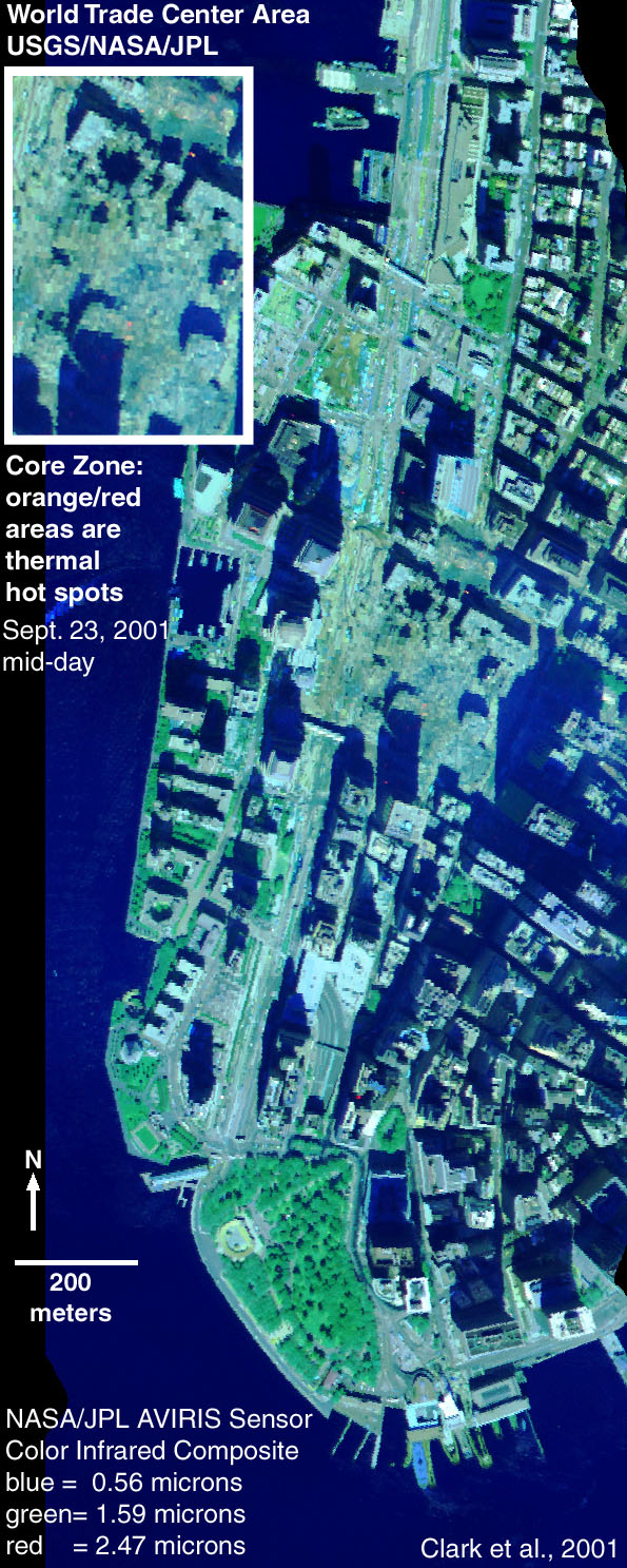AVIRIS image of World Trade Center Site on Sept. 23, 2001