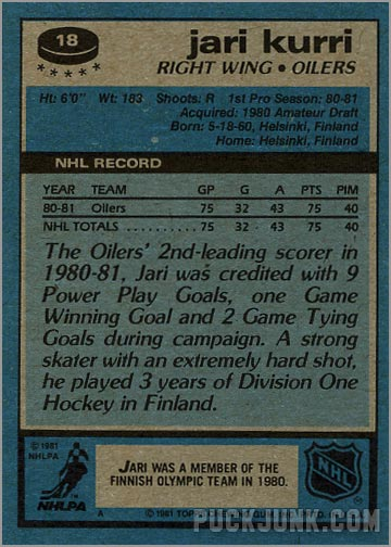 1981-82 Topps #18 - Jarri Kurri (back)