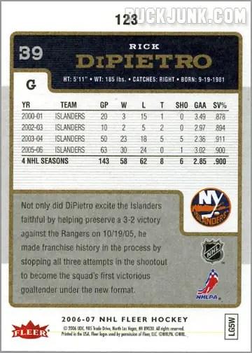 2006-07 Fleer #123 - Rick DiPietro (back)
