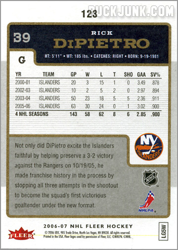 2006-07 Fleer #123 - Rick DiPietro (back)