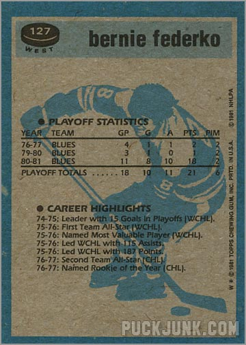 1981-82 Topps #127 West - Bernie Federko / Super Action (back)