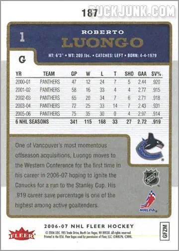 2006-07 Fleer #187 - Roberto Luongo (back)