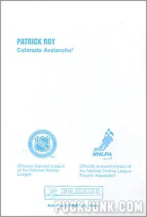 1998-99 Panini Photocards - Patrick Roy (back)