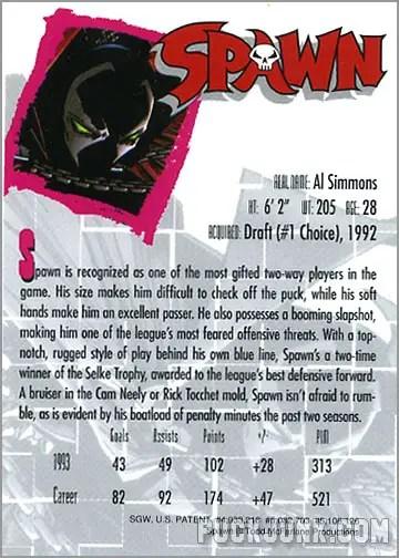 Spawn Hockey Card (back)