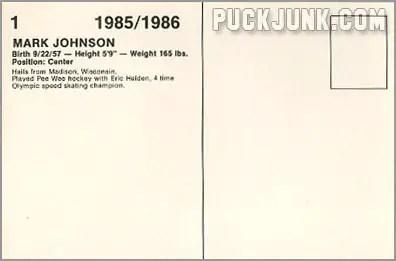 1985-86 New Jersey Devils #1 - Mark Johnson (back)