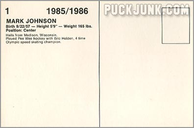 1985-86 New Jersey Devils #1 - Mark Johnson (back)