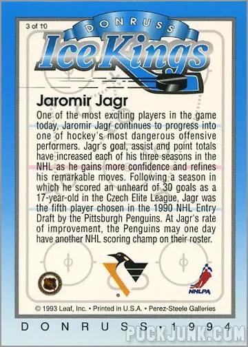 1993-94 Donruss Ice Kings Jaromir Jagr (back)