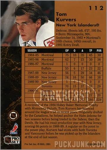 1991-92 Parkhurst #112 - Tom Kurvers (back)