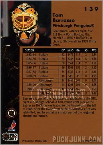 1991-92 Parkhurst #139 - Tom Barrasso (back)