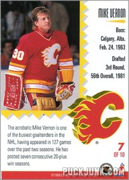 1992-93 Leaf Painted Warriors Mike Vernon (back)