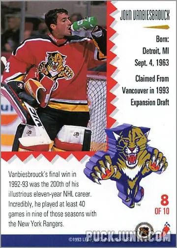 1992-93 Leaf Painted Warriors John Vanbeisbrouck (back)
