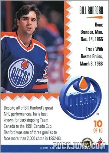 1992-93 Leaf Painted Warriors Bill Ranford (back)