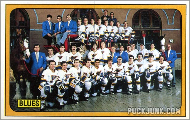 1988-89 Panini Stickers #112 & 113 - St. Louis Blues team photo