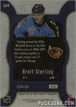 2007-08 O-Pee-Chee #509 - Brett Sterling (back)