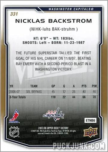 2007-08 Victory #331 - Nicklas Backstrom (back)