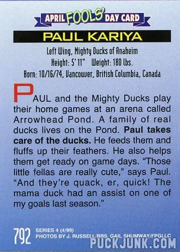 1999 Sports Illustrated For Kids card #792 - Paul Kariya