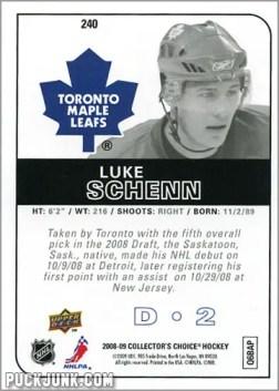 2008-09 Collector's Choice #240 - Luke Schenn (back)