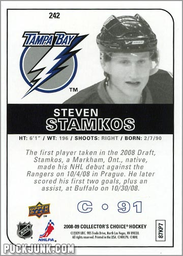 2008-09 Collector's Choice #242 - Steven Stamkos (back)