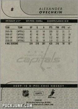 2009-10 OPC #8 - Alexander Ovechkin (back)