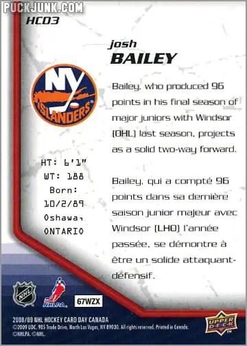 2009 National Hockey Card Day #3 - Josh Bailey (back)