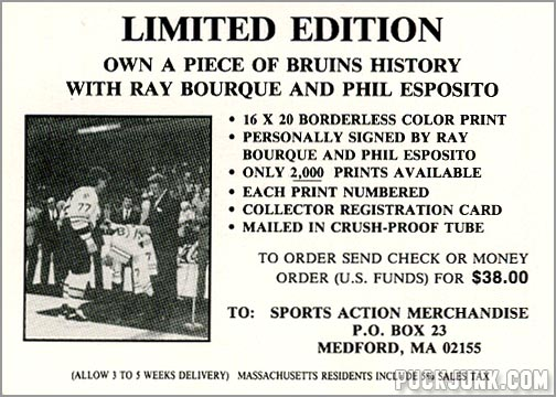 1990-91 Boston Bruins Special Offer card (back)