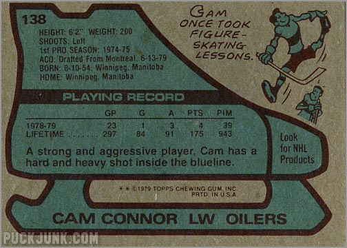 1979-80 Topps #138 - Cam Connor (back)