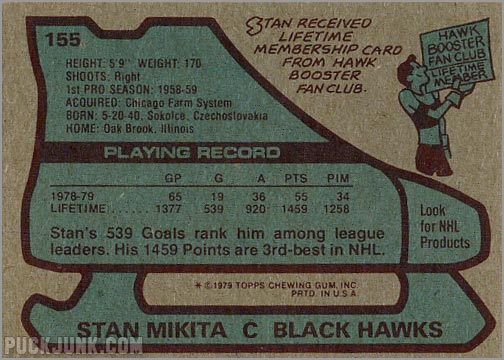 1979-80 Topps #155 - Stan Mikita (back)