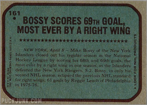 1979-80 Topps #161 - Record Breakers / Mike Bossy (back)
