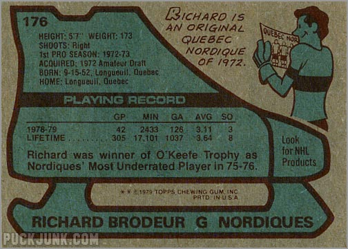 1979-80 Topps #176 - Richard Brodeur (back)