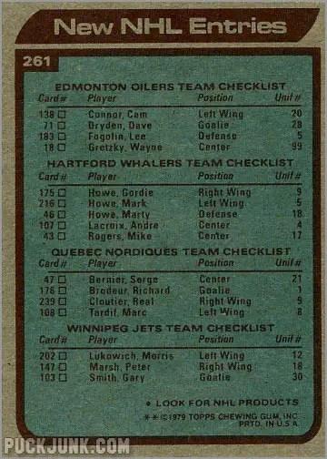 1979-80 Topps #261 - New NHL Entries (back)