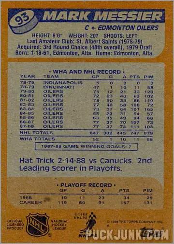 1988-89 Topps #93 - Mark Messier (back)
