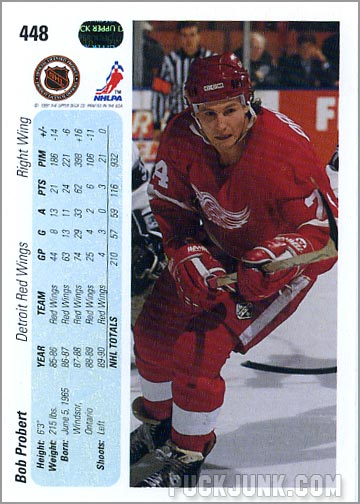 1990-91 Upper Deck card #448 - Bob Probert