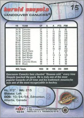 2002-03 Fleer Throwbacks #15 - Harold Snepts (back)