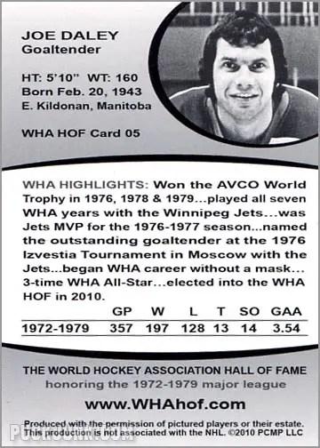 2010 WHA Hall of Fame #5 - Joe Daley (back)