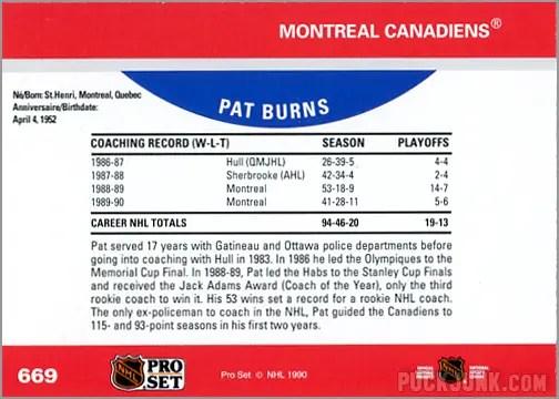 1990-91 Pro Set card #669 - Pat Burns