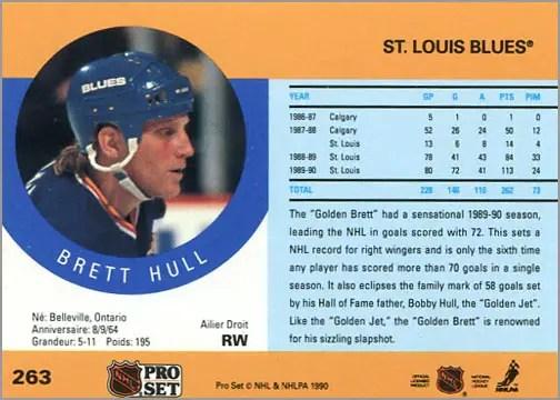1990-91 Pro Set Brett Hull (back)