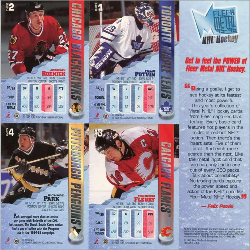1995-96 Fleer Metal promo sheet (back)