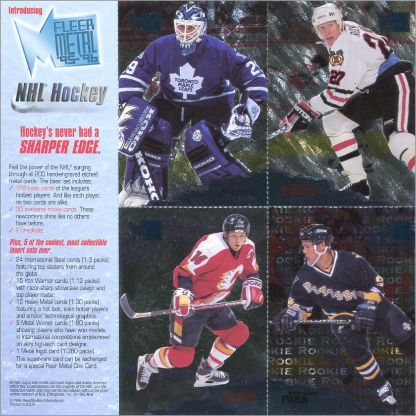 1995-96 Fleer Metal promo sheet