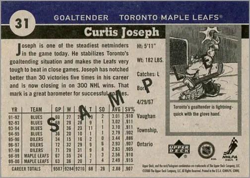 2000-01 Upper Deck Vintage Curtis Joseph promo card