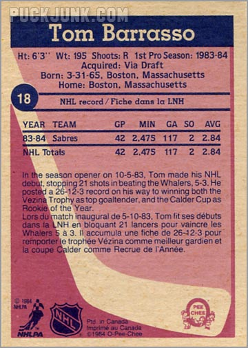 1984-85 OPC #18 - Tom Barasso (back)